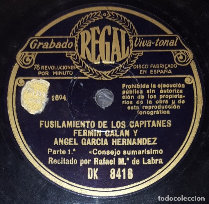 Discos de pizarra: DISCO 78RPM - REGAL - FUSILAMIENTO CAPITANES FERMIN GALAN Y ANGEL GARCIA HERNANDEZ - LABRA - PIZARRA - Foto 2 - 218077178