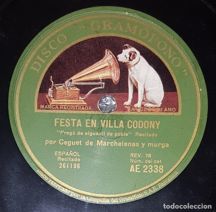 DISCO 78 RPM - GRAMOFONO - CEGUET DE MARCHELENAS - MURGA - FIESTA MORA - RECITADO - PREGÓN - PIZARRA (Música - Discos - Pizarra - Otros estilos)