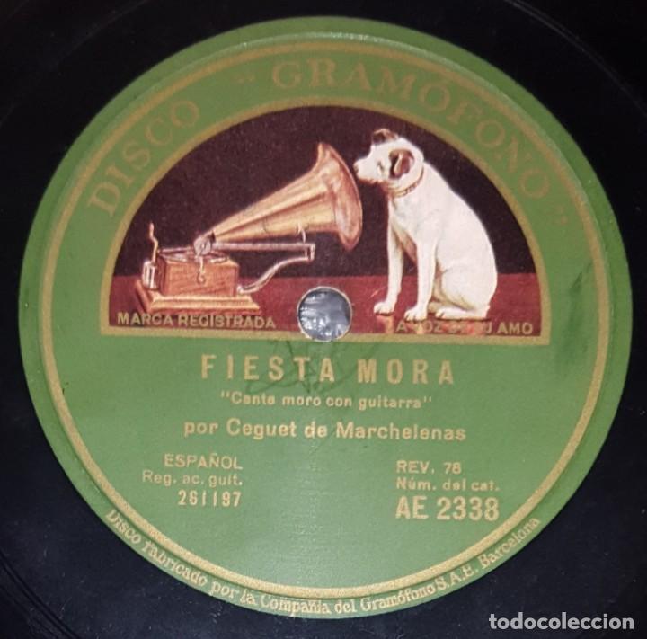 Discos de pizarra: DISCO 78 RPM - GRAMOFONO - CEGUET DE MARCHELENAS - MURGA - FIESTA MORA - RECITADO - PREGÓN - PIZARRA - Foto 2 - 218077916