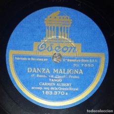 Discos de pizarra: DISCO 78 RPM - ODEON - CARMEN AUBERT - ORQUESTA - DANZA MALIGNA - LA CASITA - TANGO - PIZARRA. Lote 218078631