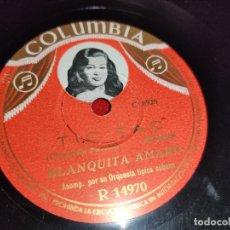 Discos de pizarra: BLANQUITA AMARO EL MAREITO/TIC TAC 10'' 25 CTMS COLUMBIA R14970 SPAIN LEER ESTADO. Lote 218283255