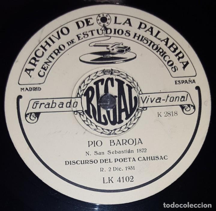 Discos de pizarra: DISCO 78 RPM - REGAL - ARCHIVO DE LA PALABRA - PIO BAROJA - ELOGIO SENTIMENTAL DEL ACORDEO - PIZARRA - Foto 2 - 218420355