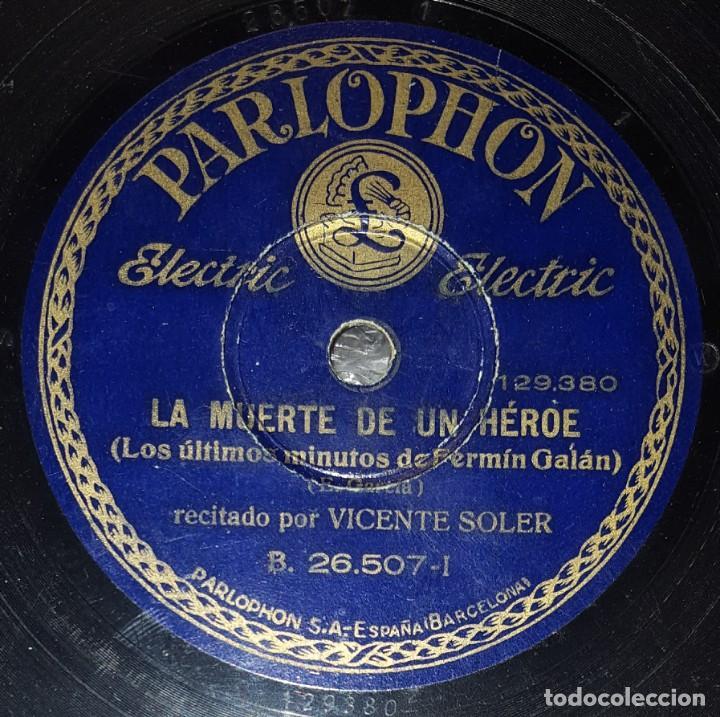 DISCO 78 RPM - PARLOPHON - VICENTE SOLER - BANDA REGIMIENTO BADAJOZ NUM 73 - FERMIN GALAN - PIZARRA (Música - Discos - Pizarra - Clásica, Ópera, Zarzuela y Marchas)