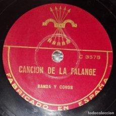 Discos de pizarra: DISCO 78 RPM - COLUMBIA - BANDA - COROS - CANCION DE LA FALANGE - JONS - ESPAÑA - RARO - PIZARRA. Lote 218472868
