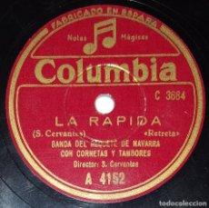Discos de pizarra: DISCO 78 RPM - COLUMBIA - BANDA REQUETE NAVARRA - CORNETAS Y TAMBORES - HIMNO NACIONAL - PIZARRA. Lote 218590742