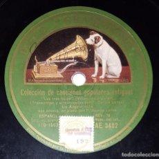 Discos de pizarra: DISCO 78 RPM - GRAMOFONO - LA ARGENTINITA - FEDERICO GARCIA LORCA - PIANO - LAS TRES HOJAS - PIZARRA. Lote 218667878