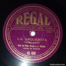 Discos de pizarra: DISCO 78 RPM - REGAL - PILAR ARCOS - PULIDO - TROVA - MUÑOZ - HIGUERITA - CANCION POPULAR - PIZARRA. Lote 218676471