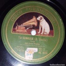 Discos de pizarra: DISCO 78 RPM - GRAMOFONO - JUAN PULIDO - TU SONRISA - MALAGUEÑA - REGIONAL - CANARIO - PIZARRA. Lote 218677951