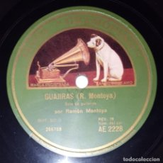 Discos de pizarra: DISCO 78 RPM - GRAMOFONO - RAMON MONTOYA - GUITARRA SOLO - GUAJIRAS - LA ROSA - FLAMENCO - PIZARRA. Lote 218678768