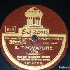 Discos de pizarra: DISCO 78 RPM - ODEON - PERTILE - MINGHINI CATTANEO - BARDONE - FREGOSI - RIGOLETTO - VERDI - PIZARRA. Lote 218730526