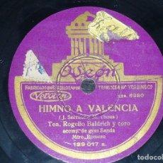 Discos de pizarra: DISCO 78 RPM - ODEON - ROGELIO BALDRICH - HIMNO A VALENCIA - BANDA - ROMERO - OPERA - PIZARRA. Lote 218736047