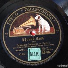 Discos de pizarra: BOLERO RAVEL PARTE 1 Y 2 - DISCO GRAMÓFONO - LA VOZ DE SU AMO , ESPAÑA.. Lote 218759742