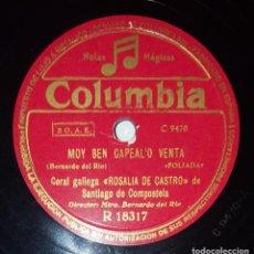 Discos de pizarra: DISCO 78 RPM - COLUMBIA - CORAL GALLEGA ROSALIA DE CASTRO SANTIAGO COMPOSTELA - RIANXEIRA - PIZARRA. Lote 218778740