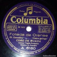 Discos de pizarra: DISCO 78 RPM - COLUMBIA - CORO DE RUADA - VIRGILIO FERNANDEZ - GAITA - FOLIADA - GALICIA - PIZARRA. Lote 218783877