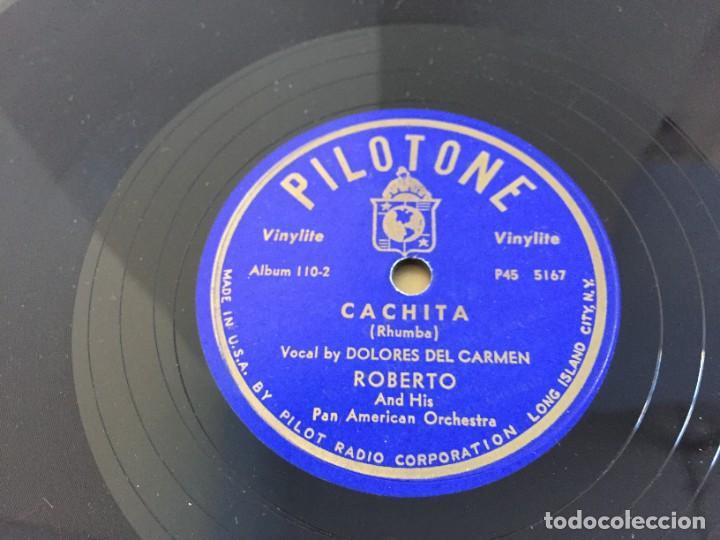 Discos de pizarra: PILOTONE. VINYLITE (NON-BREAKABLE) RECORDS. SAMBA AND RUMBA. RHYTHMS TO, DANCE TO. CHULA. CHACHITA. - Foto 10 - 219056868