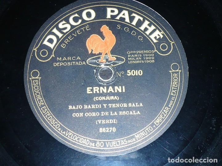 DISCO 78 RPM - PATHE - GASPARINI - BARDI - SALA - PACINI - CORO - ERNANI - VERDI - OPERA - PIZARRA (Música - Discos - Pizarra - Clásica, Ópera, Zarzuela y Marchas)