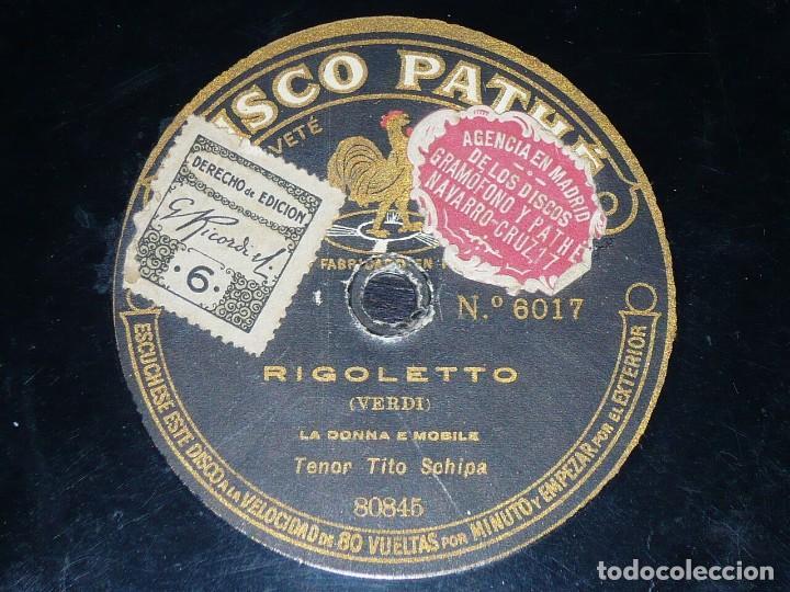 DISCO 78 RPM - PATHE - TITO SCHIPA - RIGOLETTO - VERDI - LA DONNA E MOBILE - MASCAGNI - PIZARRA (Música - Discos - Pizarra - Clásica, Ópera, Zarzuela y Marchas)