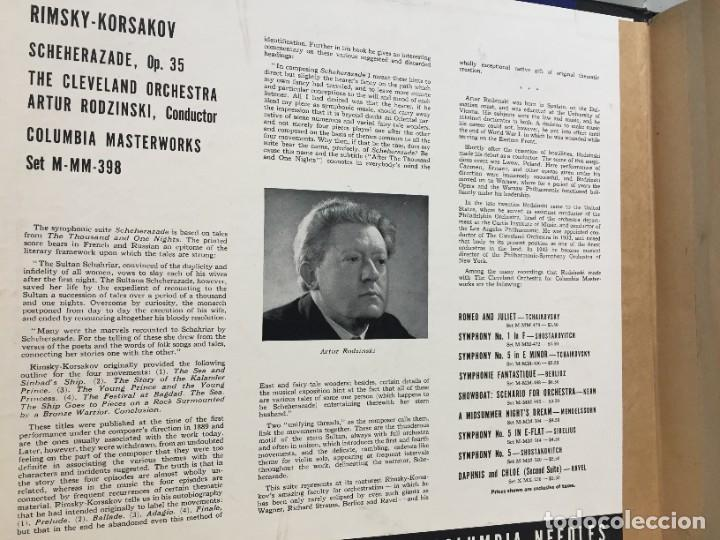 Discos de pizarra: RIMSKY KORSAKOV. SCHEHERAZADE. ARTUR RODZINSKI CONDUCTING. THE CLEVELAND ORCHESTRA. SET M-398. - Foto 5 - 219281097