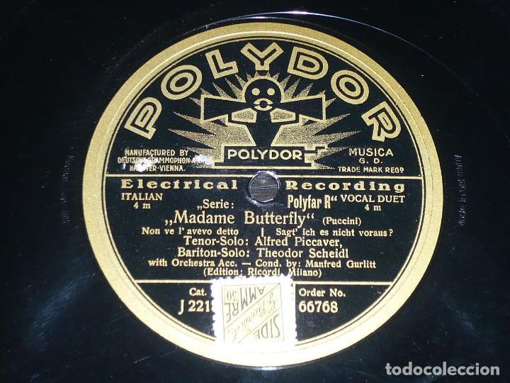 DISCO 78 RPM - POLYDOR - ALFRED PICCAVER - MADAME BUTTERFLY - PUCCINI - SCHEIDL - OPERA - PIZARRA (Música - Discos - Pizarra - Clásica, Ópera, Zarzuela y Marchas)