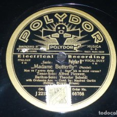 Discos de pizarra: DISCO 78 RPM - POLYDOR - ALFRED PICCAVER - MADAME BUTTERFLY - PUCCINI - SCHEIDL - OPERA - PIZARRA. Lote 219362741