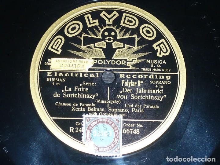 DISCO 78 RPM - POLYDOR - XENIA BELMAS - LA FOIRE DE SORTCHINSZY - MUSSORGSKY - OPERA - PIZARRA (Música - Discos - Pizarra - Clásica, Ópera, Zarzuela y Marchas)