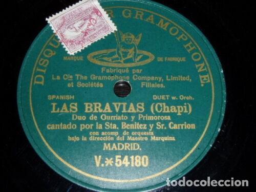 DISCO 78 RPM - PREDOG DPG GREEN - BENITEZ - CARRION - LAS BRAVIAS - CHAPI - ESPAÑA - OPERA - PIZARRA (Música - Discos - Pizarra - Clásica, Ópera, Zarzuela y Marchas)