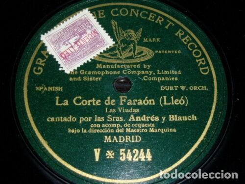 DISCO 78 RPM - PRE DOG GCR GREEN - ANDRES - BLANCH - LA CORTE DE FARAON - LLEO - OPERA - PIZARRA (Música - Discos - Pizarra - Clásica, Ópera, Zarzuela y Marchas)