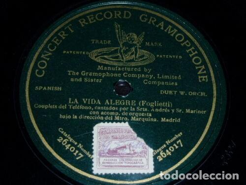 DISCO 78 RPM - PRE DOG GCR GREEN - ANDRES - MARINER - LA VIDA ALEGRE - FOGLIETTI - OPERA - PIZARRA (Música - Discos - Pizarra - Clásica, Ópera, Zarzuela y Marchas)