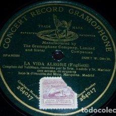 Discos de pizarra: DISCO 78 RPM - PRE DOG GCR GREEN - ANDRES - MARINER - LA VIDA ALEGRE - FOGLIETTI - OPERA - PIZARRA. Lote 219366443