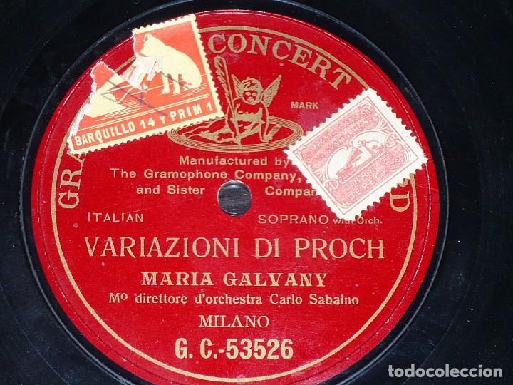 DISCO 78 RPM - PRE DOG GCR RED - MARIA GALVANY - VARIAZIONI DI PROCH - ORQUESTA - MILAN - PIZARRA (Música - Discos - Pizarra - Clásica, Ópera, Zarzuela y Marchas)