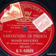 Discos de pizarra: DISCO 78 RPM - PRE DOG GCR RED - MARIA GALVANY - VARIAZIONI DI PROCH - ORQUESTA - MILAN - PIZARRA. Lote 219367607