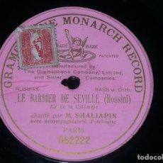Discos de pizarra: DISCO 78 RPM - PRE DOG GMR PINK - FEODOR CHALIAPINE - BARBIER DE SEVILLE - ROSSINI - RARO - PIZARRA. Lote 219368393