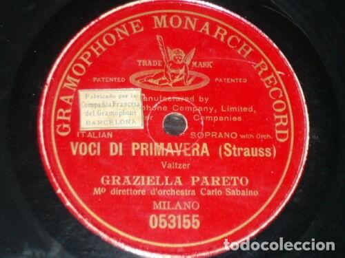 DISCO 78 RPM - PRE DOG GMR RED - GRAZIELLA PARETO - VOCI DI PRIMAVERA - STRAUSS - OPERA - PIZARRA (Música - Discos - Pizarra - Clásica, Ópera, Zarzuela y Marchas)