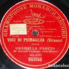 Discos de pizarra: DISCO 78 RPM - PRE DOG GMR RED - GRAZIELLA PARETO - VOCI DI PRIMAVERA - STRAUSS - OPERA - PIZARRA. Lote 219369058