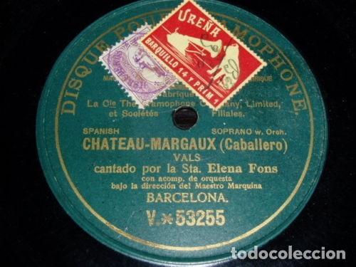 DISCO 78 RPM - PRE DOG DPG GREEN - ELENA FONS - CHATEAU MARGAUX - CABALLERO - ORQUESTA - PIZARRA (Música - Discos - Pizarra - Clásica, Ópera, Zarzuela y Marchas)