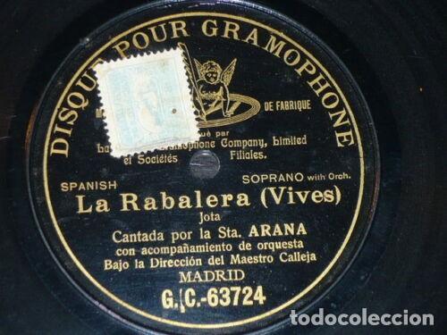 DISCO 78 RPM - PRE DOG DPG BLACK - LUCRECIA ARANA - JOTA - LA RABALERA - VIVES - ORQUESTA - PIZARRA (Música - Discos - Pizarra - Clásica, Ópera, Zarzuela y Marchas)