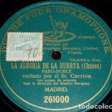 Discos de pizarra: DISCO 78 RPM - PRE DOG DPG GREEN - CARRION - MARQUINA - LA ALEGRIA DE LA HUERTA - CHUECA - PIZARRA. Lote 219373647