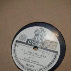 Discos de pizarra: DISCO DE PIZARRA : LA DOLOROSA ( ZARZUELA) CANTAN EMILO VENDRELL TRINI AVELLI Y ANSELMO FERNANDEZ. Lote 219446701