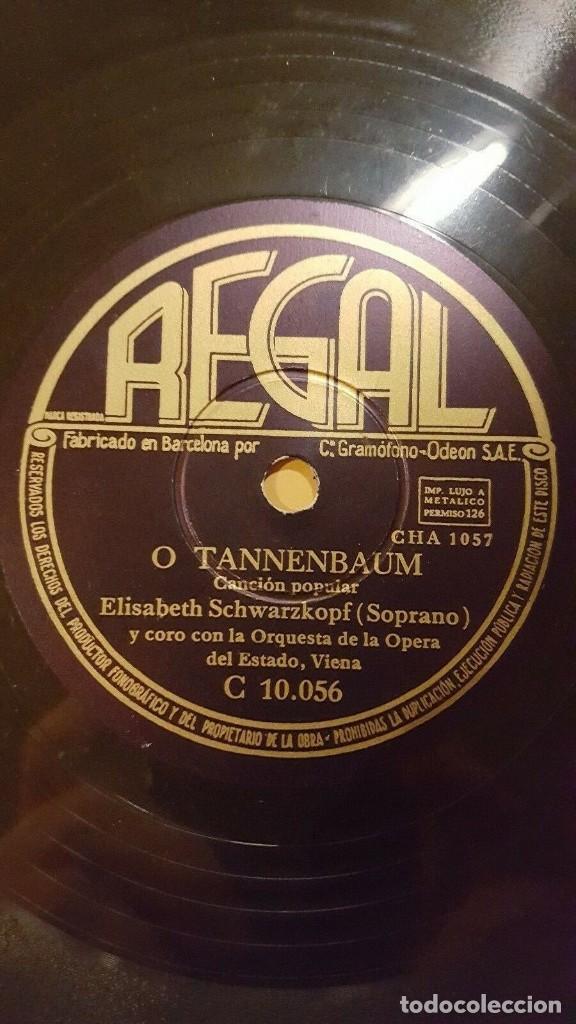 DISCO 78 RPM - REGAL - ELISABETH SCHWARZKOPF - CORO - O TANNENBAUM - POPULAR - ALEMAN - PIZARRA (Música - Discos - Pizarra - Clásica, Ópera, Zarzuela y Marchas)