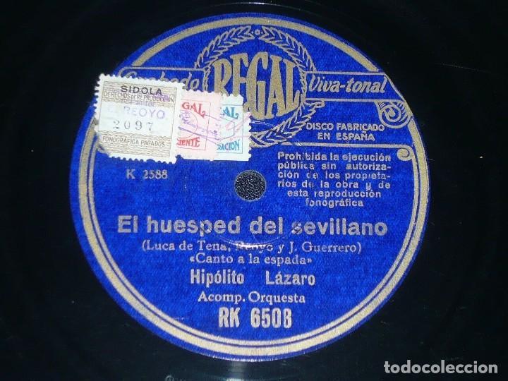 DISCO 78 RPM - REGAL - HIPOLITO LAZARO - EL HUESPED DEL SEVILLANO - EL SUSPIRO DEL MORO - PIZARRA (Música - Discos - Pizarra - Clásica, Ópera, Zarzuela y Marchas)