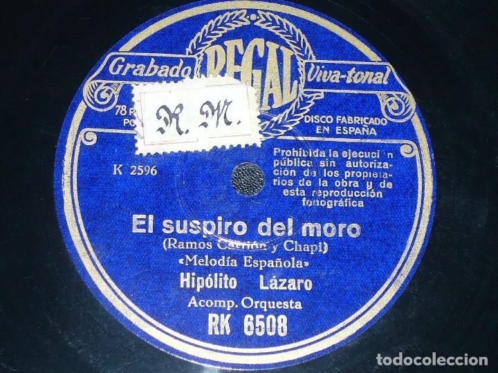 Discos de pizarra: DISCO 78 RPM - REGAL - HIPOLITO LAZARO - EL HUESPED DEL SEVILLANO - EL SUSPIRO DEL MORO - PIZARRA - Foto 2 - 219814887