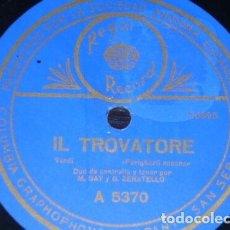 Discos de pizarra: DISCO 78 RPM - REGAL - MARIA GAY - GIOVANNI ZENATELLO - IL TROVATORE - VERDI - OPERA - PIZARRA. Lote 219816620