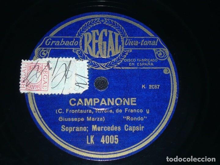 DISCO 78 RPM - REGAL - MERCEDES CAPSIR - CAMPANONE - EL MAJO DISCRETO - GRANADOS - OPERA - PIZARRA (Música - Discos - Pizarra - Clásica, Ópera, Zarzuela y Marchas)