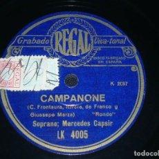 Discos de pizarra: DISCO 78 RPM - REGAL - MERCEDES CAPSIR - CAMPANONE - EL MAJO DISCRETO - GRANADOS - OPERA - PIZARRA. Lote 219818158
