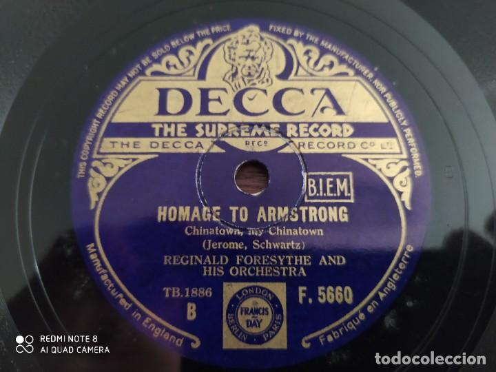 Discos de pizarra: Año 1935, muy raro, REGINALD FORESYTHE, landescape, homage to armstrong, disco de pizarra 78 rpm - Foto 3 - 220252042
