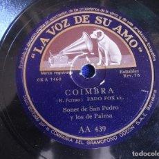 """Discos de pizarra: BONET DE SAN PEDRO COIMBRA Y TODO LO ERES TU LP PIZARRA 10"""" LA VOZ E SU AMO AA 439. Lote 221246001"""