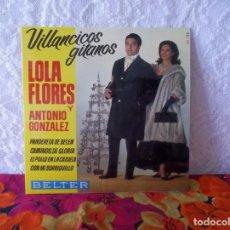 Discos de pizarra: LOLA FLORES Y ANTONIO GONZALEZ - VILLANCICOS GITANOS. Lote 221728337