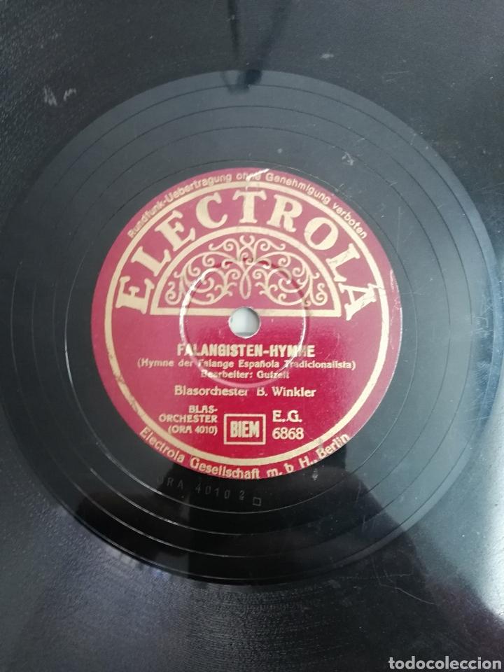 Discos de pizarra: Disco de pizarra 78rpm. Epoca: TERCER REICH- B. Winkler- Marcha de la LEGION CONDOR/HIMNO FALANGISTA - Foto 3 - 222038605