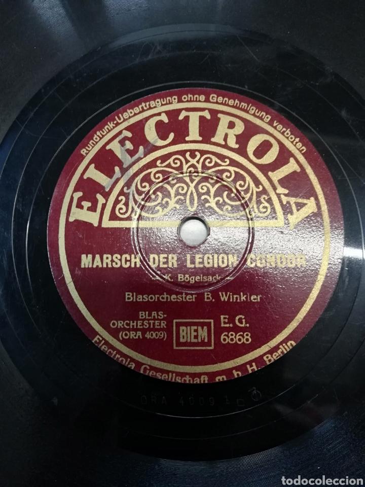 Discos de pizarra: Disco de pizarra 78rpm. Epoca: TERCER REICH- B. Winkler- Marcha de la LEGION CONDOR/HIMNO FALANGISTA - Foto 6 - 222038605