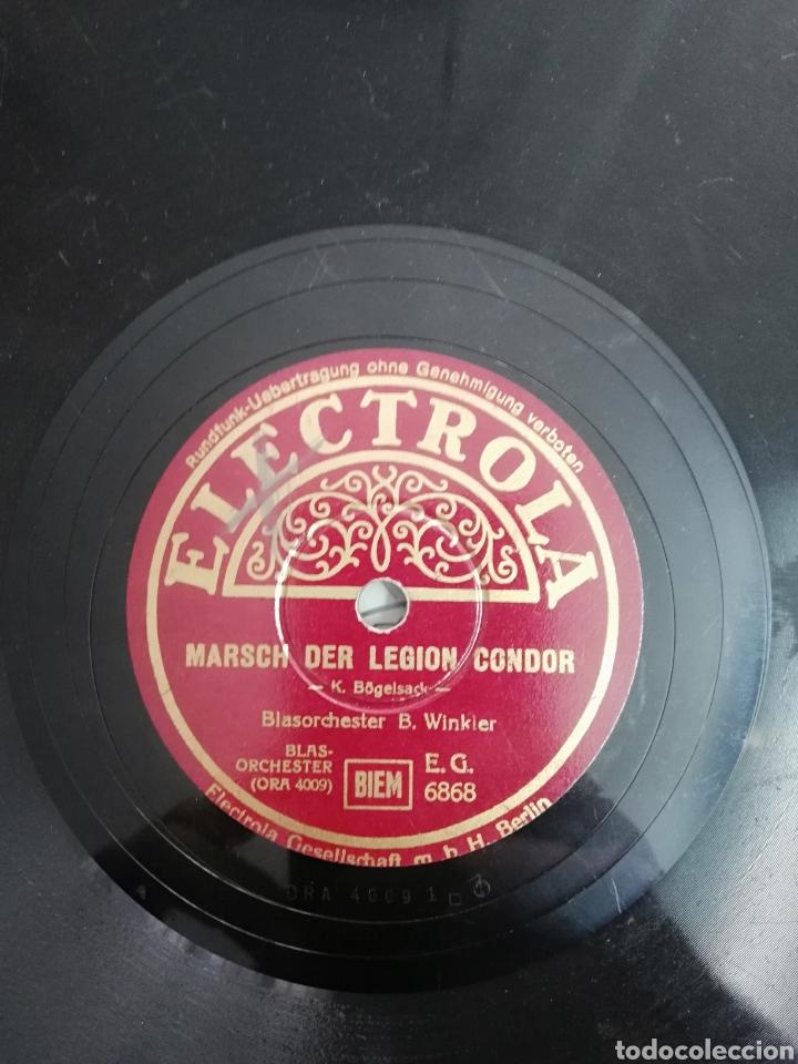 DISCO DE PIZARRA 78RPM. EPOCA: TERCER REICH- B. WINKLER- MARCHA DE LA LEGION CONDOR/HIMNO FALANGISTA (Música - Discos - Pizarra - Otros estilos)